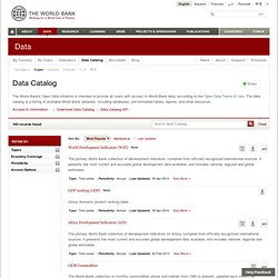 The World Bank - Data Catalog