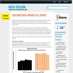 Data Colada | [19] Fake Data: Mendel vs. Stapel