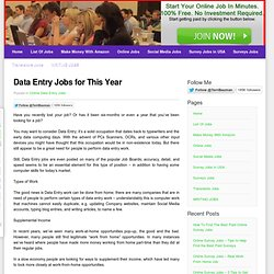 Data Entry Jobs for This Year