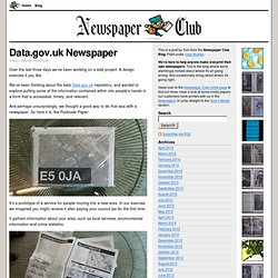 Data.gov.uk Newspaper | Newspaper Club