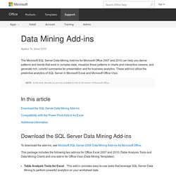 Data Mining Add-ins - Excel