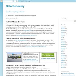 Data Recovery: RAW SD Card Recovery