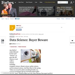 Data Science: Buyer Beware