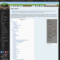 Data values - Minepedia - The Minecraft Wiki!