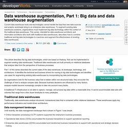 Data warehouse augmentation, Part 1: Big data and data warehouse augmentation