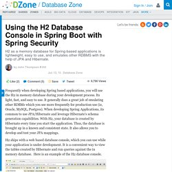 Using the H2 Database Console in Spring Boot with Spring Security - DZone Database