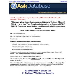 ASK Database - The Worlds First Search Engine for Surveys