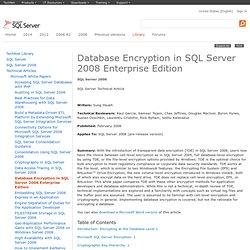 Database Encryption in SQL Server 2008 Enterprise Edition