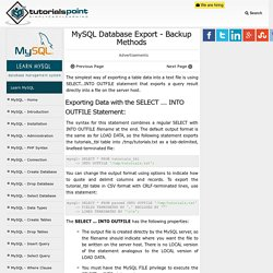 MySQL Database Export - Backup Methods