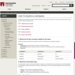 How to search a database - Macquarie University