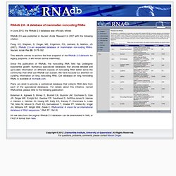 RNAdb 2.0 - A database of mammalian noncoding RNAs