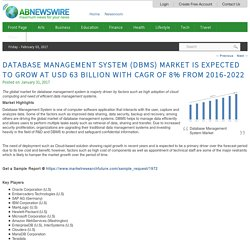Database Management System (DBMS) Market is Expected to grow at USD 63 billion with CAGR of 8% from 2016-2022