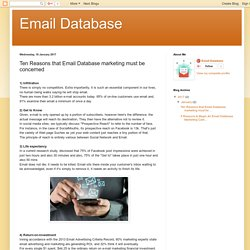 Email Database: Ten Reasons that Email Database marketing must be concerned