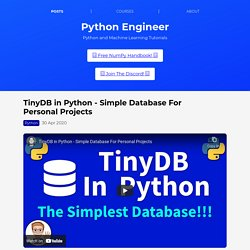 TinyDB in Python - Simple Database For Personal Projects