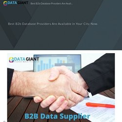 Best B2b Database Providers Are Available in Your City Now