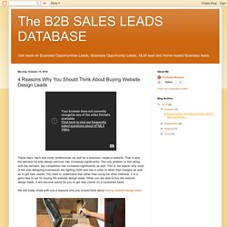 The B2B SALES LEADS DATABASE : 4 Reasons Why You Should Think About Buying Website Design Leads