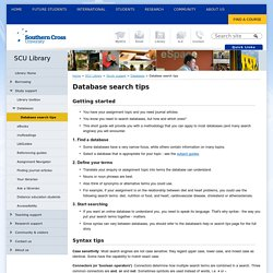 Database search tips - SCU Library - SCU