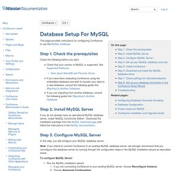 Database Setup For MySQL