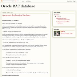 Oracle RAC database: Startup and shutdown RAC databases