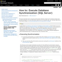 How To: Execute Database Synchronization (SQL Server)
