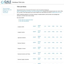 Database Title Lists - Database Title Lists - Gale