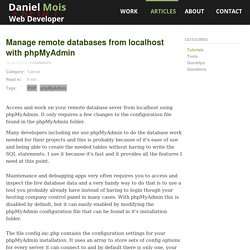 Manage remote databases from localhost with phpMyAdmin - Daniel Mois - Web Developer