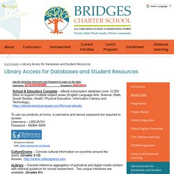 Library Access for Databases and Student Resources – Curriculum – Bridges Charter School