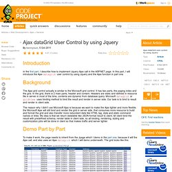 Ajax dataGrid user control by using Jquery