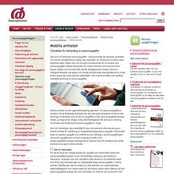Mobila enheter – Checklista för behandling av personuppgifter