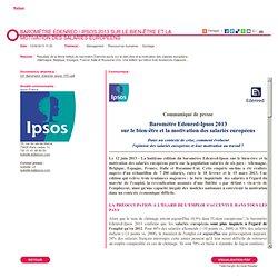 Baromètre Edenred / Ipsos 2013 sur le bien-être et la motivation des salariés européens