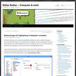 Dateiendungen für Highlighting in Notepad++ einstellen