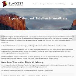 Eigene Datenbank Tabellen in Wordpress - BLACKZET