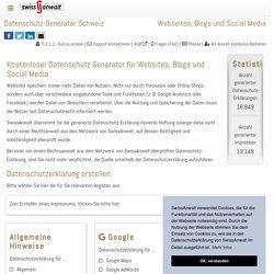 Datenschutz Generator für Webseiten, Blogs und Social Media - Kostenlos