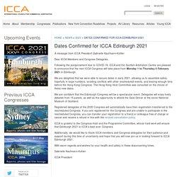 Dates Confirmed for ICCA Edinburgh 2021 - ICCA
