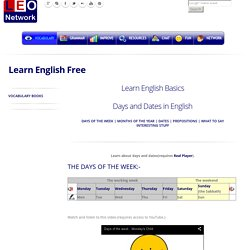 Days and Dates in English - Learn English Basics