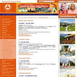 Toutes les formations Sivananda Yoga - dates et prix