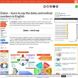Dates – learn to say the dates and ordinal numbers in English