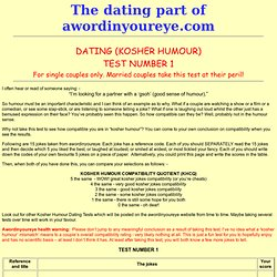 Dating Kosher Humour - test 1