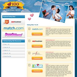 100 Top Dating Sites - reviews of the best dating websites