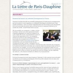fait évoluer ses méthodes d'enseignement en licence - La Lettre de Paris-Dauphine