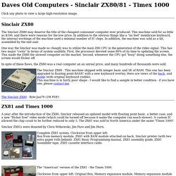 DAVES OLD COMPUTERS - Sinclair ZX80/81 - Timex 1000