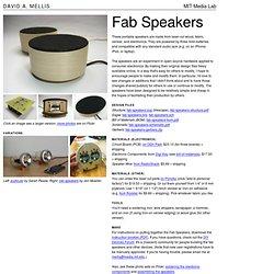 David A. Mellis: Fab Speakers