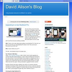 David Alison's Blog: Switching to Mac