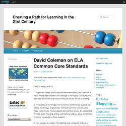 David Coleman on ELA Common Core Standards