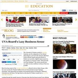 David Karpf: UVA Board's Lazy Business Sense
