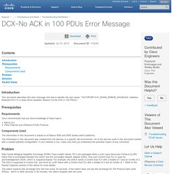 DCX-No ACK in 100 PDUs Error Message
