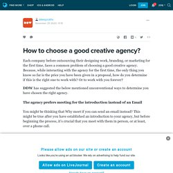 How to choose a good creative agency?