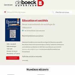 Education et sociétés
