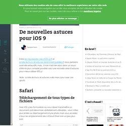 De nouvelles astuces pour iOS 9
