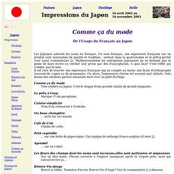 De l'Usage du Français au Japon
